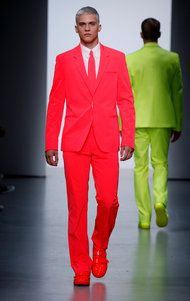 Wohoo! AJ Abualrub in Italo Zucchelli's neon red suit in the Calvin Klein spring 2009 show.
