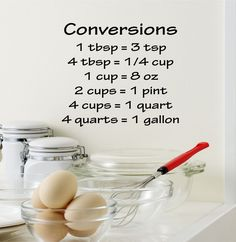 """Cooking Conversions Chart Kitchen Vinyl Wall Decal H7 Kitchen Chart Decal- by Decor Designs Decals 24"""" WIDE X 20"""" HIGH Available in the color of your choice!! We now have 21 MATTE FINISH COLORS to cho"""
