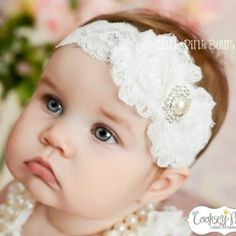 White baby Headband from ILoveCuteShoes.com