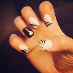 Black and white nails-my own design!