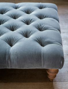 Velvet Buttoned Ottoman by Rose & Grey