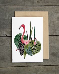 Flamingo Tropical Greeting Card by AmeliaHerbertson on Etsy