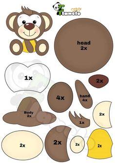 Felt Doll Patterns, Felt Animal Patterns, Felt Crafts Patterns, Felt Crafts Diy, Foam Crafts, Felt Diy, Stuffed Animal Patterns, Paper Crafts, Paper Animals