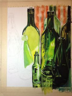 sketch draw paint how to paint realistic bottles by