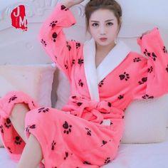 4bdfaf2f74 Soft Robe Womens Bathrobe Winter Warm Coral Fleece Women s Bathrobe  Nightgown Kimono Floral Dressing Gown Sleepwear