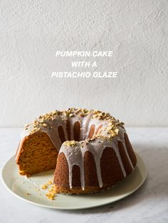 Pumpkin Cake with a Pistachio Glaze