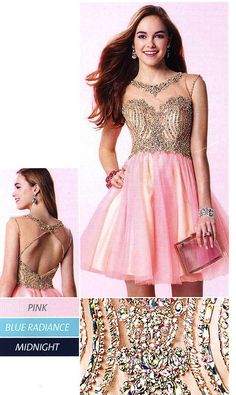 Short Formal Dresses Evening Dresses by ALYCE PARIS<BR>aay3645<BR>Layered tulle short dress with crystal nude illusion bodice