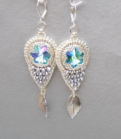 Bead embroidery, Earring, Seed bead jewelry,  Fashionable earring, Trending jewelry,  Swarovski,  Silver,  Wedding by vicus. Explore more products on http://vicus.etsy.com