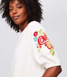 Floral Embroidered Blouson Top