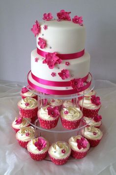 Pretty Pink Wedding cake and cupcakes x