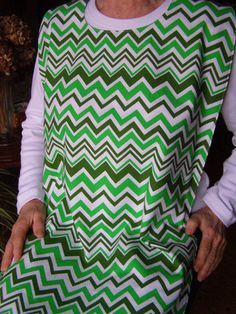 Senior Adult Bib green chevron Special Needs Apron extra long reversible on Etsy, $11.99