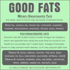 Good #fats - #Monounsaturated fats and #Polyunsaturated fats