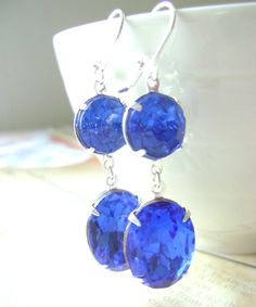 Sapphire Blue Earrings Estate Style by RachellesJewelryBox on Etsy