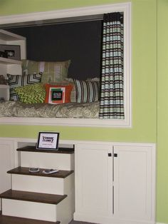 Love this built-in bed cubbie!