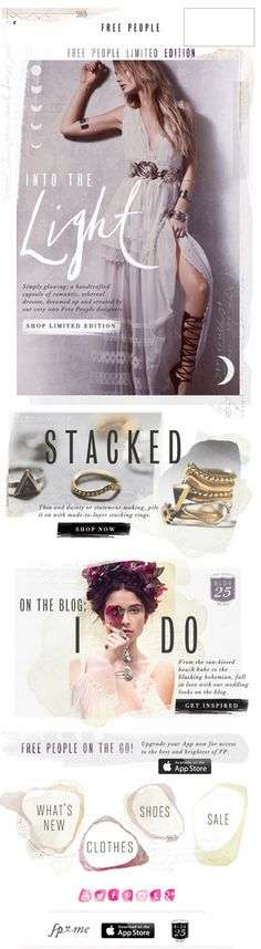 Free People email design. Fresh and creative layout from Free People. http://www.freepeople.com