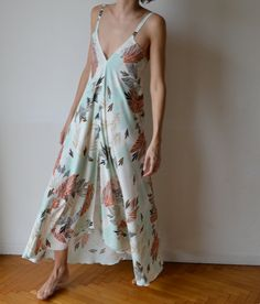 Maxi dress low back Feather print coral mint Party by MuguetMilan