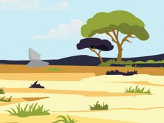 Africa Landscape - Clueless Critters designed by rachelmercer. Landscape Illustration, Flat Design, Beautiful Landscapes, Pikachu, Africa, Fictional Characters, Art, Speech Language Therapy, Art Background