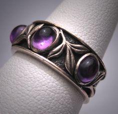 Estate Vintage Amethyst Wedding Ring Band Arts & Crafts via Etsy