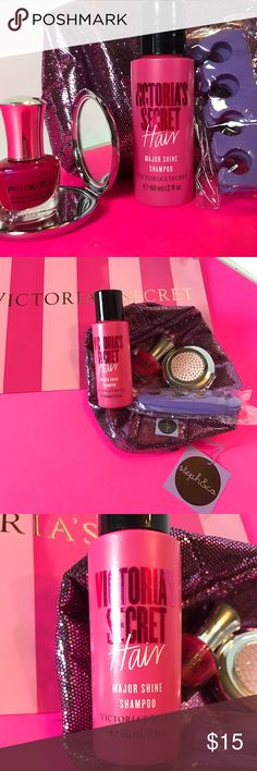 Victoria's Secret Beauty Bundle New Victoria's Secret beauty bundle  I've put together a cute little gift for you or another special person   Listing includes Victoria's Secret major shine shampoo travel size 2oz.  New pink sparkle travel bag by Steph &Co New pink Rhinestone compact mirror New pixel High shine Nail Polish in fuchsia along  New toe separator for drying nail Polish. Victoria's Secret Accessories