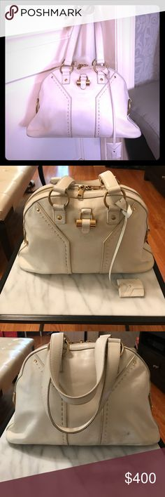 """YSL Classic Large Muse Bag Off White This is a classic YSL Muse bag in good condition and a perfect silk interior. This is the large sized muse bag measure 16.5"""" x 11"""" x 5"""". It is an off white color. No box or dust bag. Purchased for $1690. Light scuffs as seen in the photos. Yves Saint Laurent Bags"""