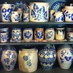 Crocks!  Remember, these were the equivalent of their Tupperware in the 1800s. Obviously, not blue and white, but blue and a varying tan color.... but the Cobalt blue in their designs is very dramatic in a primitive blue design/décor!!!