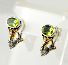 "232.50 Lagos ""Caviar"" Green Peridot Earrings Sterling Silver and 18K Gold Omega Back 