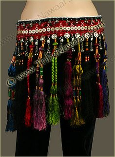 Love all the different coloured long tassles on this belt.