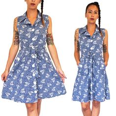 HOLA VINTAGE 50s Inspired Bow Tie Day Dress  by HolaVintageShop, $35.00