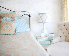 Such pretty bedding for a big girl room