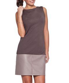 Grey sleeveless leather effect dress by Katrus on secretsales.com
