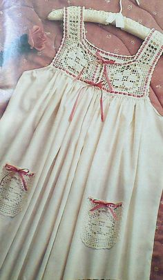 Vintage Crochet Flower Fillet Nightgown Pattern by MAMASPATTERNS, $3.50