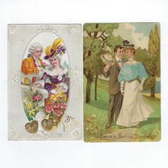 Antique Valentine Postcards - Couples in Love - Set of 2 Valentine Post Cards from the - Love Ephemera - Colorized and Embossed Fabric Remnants, Sewing Material, Couples In Love, Happy Valentines Day, Ephemera, Vintage Antiques, Postcards, Sewing Crafts, Card Making