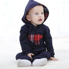 Hooded Baby Romper  Adorable rompers perfect for a Santa visit, Christmas morning or Holiday photos!!  www.babypotter.com