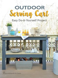 outdoor space serving cart with soda bottles in aluminum container, star light and dishes Outdoor Serving Cart, Outdoor Buffet Tables, Outdoor Bar Cart, Diy Outdoor Bar, Diy Outdoor Kitchen, Serving Table, Diy Patio, Backyard Patio, Outdoor Living