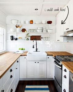 Galley kitchen organization- open shelves, wood counters