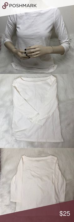 Loft(Ann Taylor) Quarter Sleeve Top Description: More off and off white than a pure white.  ⚠️I always look through each item throughly once received and right before shipping, but things can be missed. Just let me know, so I can improve.⚠️  Measurement: Length from back of shirt top to bottom is 22.5in Arm pit to arm pit is 15.5in  ⚠️all measurements are an estimate⚠️  🚫NO TRADES/NO HOLDS🚫  Please ask questions❓  💜Thank you for checking out my closet and don't be afraid to submit an…