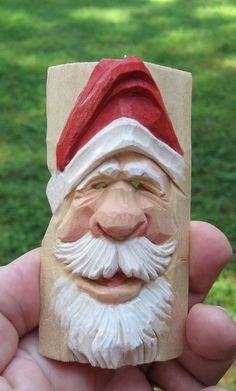 Santa ornament, jolly Santa carving, hand carved wood ornament, corner block ornament, hand made in Virginia, Christmas decoration, holiday