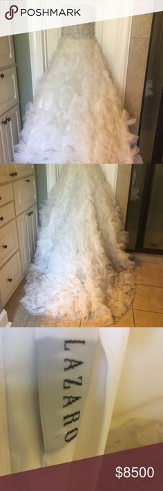 Lazaro Designer Wedding Gown Lazaro Designer Wedding Gown. Size 10 but has had alterations to be taken in and hemmed (I am 5'2, but wore high heels). Worn once. Originally $12,000. Lazaro Dresses Wedding