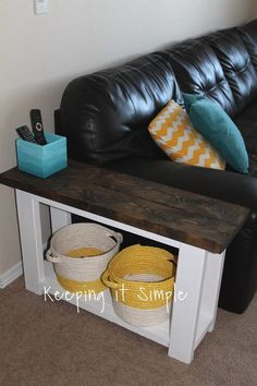 This post contains affiliate links A couple months ago I made a fun sofa table for my loft area. It was my very first piece of fur. Narrow Side Table, Crate Side Table, Pallet Side Table, Rustic Side Table, Side Table Decor, Table Decor Living Room, Side Table With Storage, Living Room End Tables, Sofa Side Table