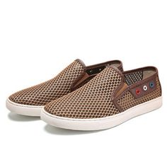 Fashion Men Stitching Honeycomb Mesh Slip On Loafers Breathable Outdoor Casual Shoes - NewChic Mobile version.