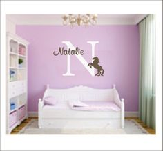 Personalized Name and Horse Vinyl Wall Decal Girls Vinyl Wall Art Name & Initial. $34.00, via Etsy.