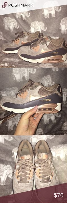 Nike Air max Suede and Rose gold Only worn twice! Super cute color scheme! Nike Shoes Sneakers