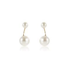 DOUBLE PEARL CURVED EARRINGS #TDH #WHITELABEL  http://www.thedarkhorse.com.au/