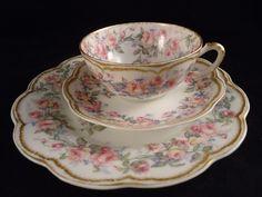 HAVILAND CUP, SAUCER, SALAD PLATE Pink MIAMI Drop Rose GOLD Limoges PERFECT #HAVILANDLimogesFrance