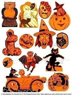 Instaint Download Vintage Halloween Scraps Clipart Digital Collage Sheet It's An Orange and Black Party