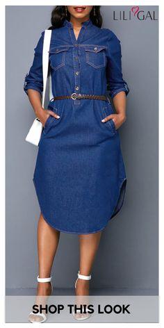 0fd69f062c5 USD32.74 Curved Hem Denim Blue Button Front Pocket Dress  liligal  dresses