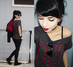 Melina DeSantiago - 90's Choker Necklace, Classic Half Frame, Horn Rimmed Sunglasses, Red & Grey, Off The Shoulder, 'Faith' Thrifted Tee, Inner Red Plaid, Black Faux Leather Jacket, Konov Black Leather Cuff Bracelet, Black Skinny Jeggings, Levi's® All Black Lace Up Levi Hamilton Sneaker - Faith
