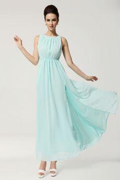 Neu Damen Prinzessin Bohemia Chiffon Maxi Kleid lang Abendkleid Hellblau Strandkleid