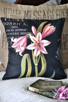Pink Lily Burlap and Cotton Pillow Cover Burlap Pillow