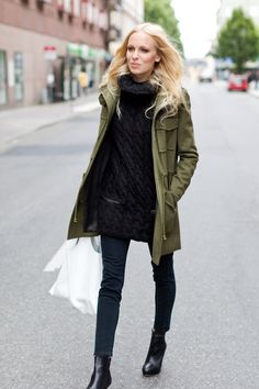 army green jacket with sweater dress-fall outfit ideas